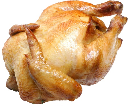 Whole griiled chicken isolated on a white background.