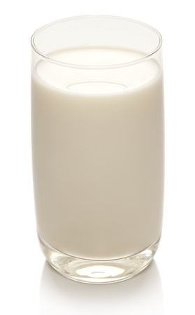 Glass of milk on a white background.