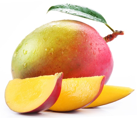 Photo for Mango with slices on a white background. - Royalty Free Image