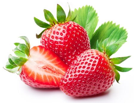 Foto de Strawberries with leaves  Isolated on a white background   - Imagen libre de derechos