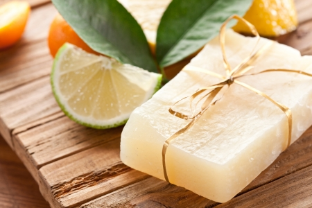 Piece of handmade lemon soap