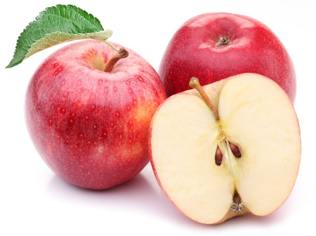 Photo for Red apple with leaf and slice on a white background. - Royalty Free Image
