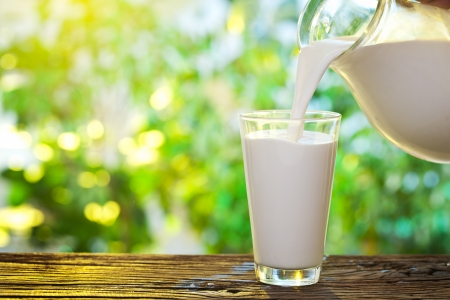 Photo pour Pouring milk in the glass on the background of nature  - image libre de droit