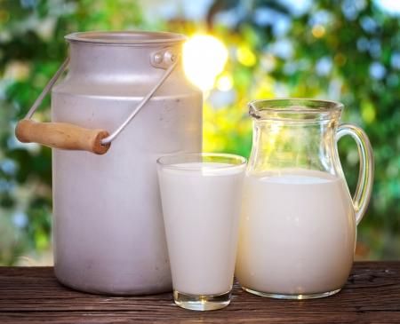 Photo pour Milk in various dishes on the old wooden table in an outdoor setting  - image libre de droit