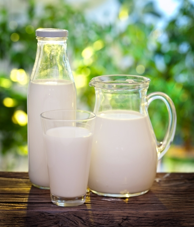 Photo pour Milk in various dishes on the old wooden table in an outdoor setting. - image libre de droit