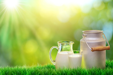Photo for Fresh organic milk. Nature background. - Royalty Free Image