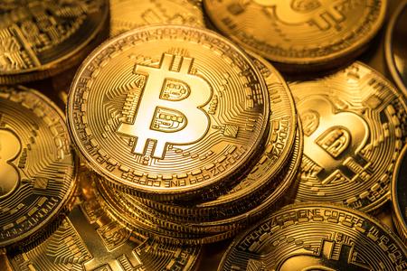 Shiny physical bitcoins.