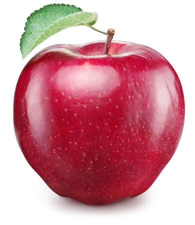 Photo for Ripe red apple fruit with green apple leaf. File contains clipping path. - Royalty Free Image