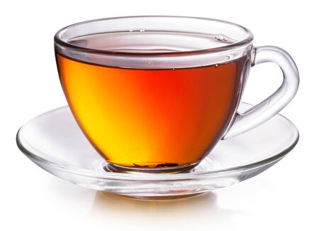 Photo pour Glass cup with black tea isolated on a white background. - image libre de droit