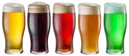 Photo pour Collection of five types of different beer in glasses isolated on a white background. Each beer glass contains a clipping path. - image libre de droit