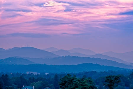 Beautiful sunset sky at the mountains landscape   Blue Ridge Mountains, North Carolina, USA