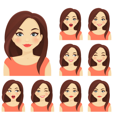 Illustration for Blond woman with different facial expressions set - Royalty Free Image