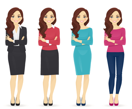 Illustration pour Smiling cute woman in different style clothes with arms crossed standing isolated on white background - image libre de droit