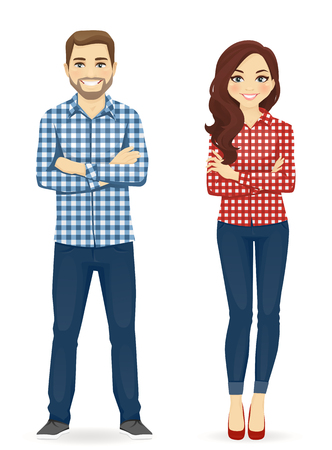 Illustration pour Young people in casual clothes. Cute man and girl isolated - image libre de droit