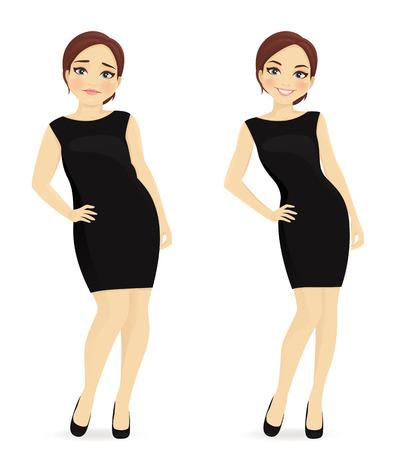 Ilustración de Fat and slim woman, before and after weight loss in black dress isolated - Imagen libre de derechos