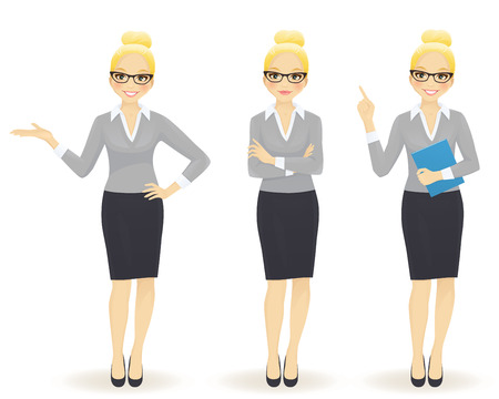 Foto per Elegant business woman in different poses isolated - Immagine Royalty Free