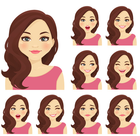 Illustration pour Blond woman with different facial expressions set isolated - image libre de droit