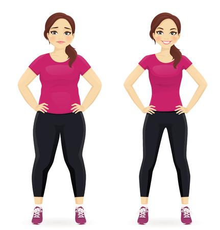 Ilustración de Fat and slim woman, before and after weight loss in sportswear isolated - Imagen libre de derechos