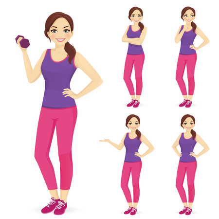 Illustration pour Sport woman in different poses vector illustration set - image libre de droit