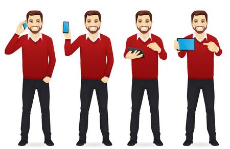 Illustration pour Businessman with gadgets set - image libre de droit