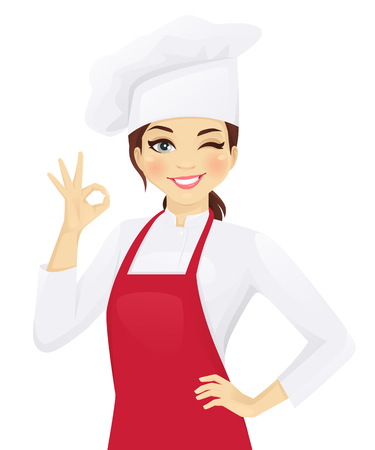 Ilustración de Confident chef woman gesturing ok sign vector illustration - Imagen libre de derechos