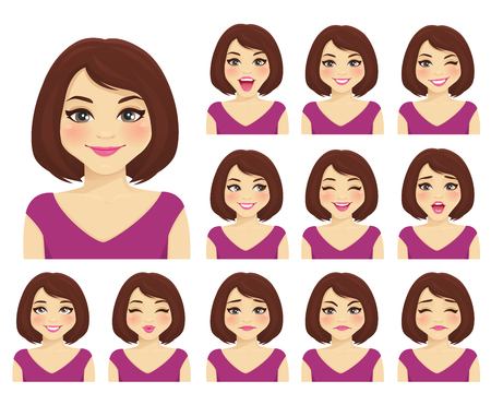 Illustration for Woman with different facial expressions set isolated - Royalty Free Image