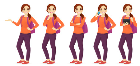 Illustration pour Young woman with backpack set different gestures isolated - image libre de droit