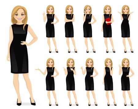 Ilustración de Young beautiful woman in black dress character in different poses set vector illustration - Imagen libre de derechos