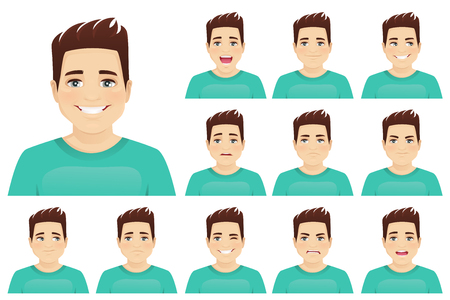 Illustration pour Young man with different facial expressions set vector illustration isolated - image libre de droit