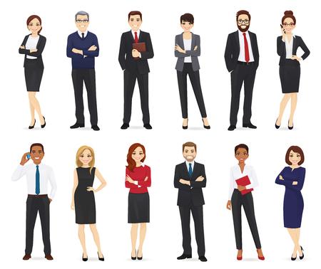 Illustration pour Business people, office workers set isolated vector illustration - image libre de droit