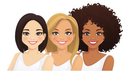 Ilustración de Multiethnic women. Three different female faces. Asian, african and caucasian isolated vector illustration - Imagen libre de derechos