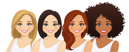 Ilustración de Multiethnic women, different female faces isolated vector illustration - Imagen libre de derechos