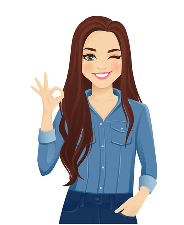 Vektor für Young cheerful woman with long hair in casual denim shirt gesturing ok sign isolated vector illustration - Lizenzfreies Bild