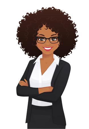 Ilustración de Portrait of elegant business woman with arms crossed isolated vector illustration - Imagen libre de derechos