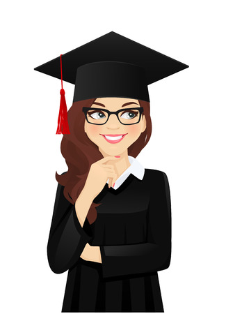 Illustration pour Thinking student girl looking away with hat of graduation on head isolated vector illustration - image libre de droit