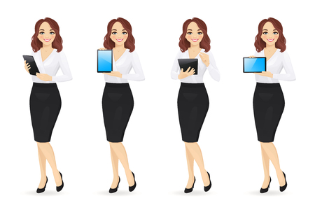 Illustration for Business woman in different poses with tablet set isolated vector illustration. Using, holding, typing, showing blank screen - Royalty Free Image