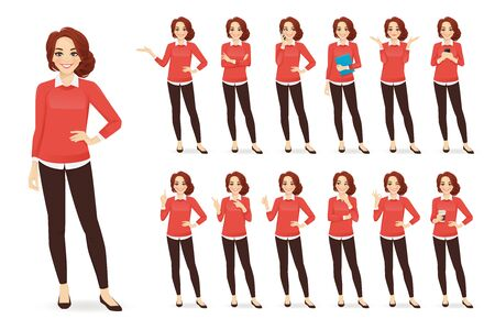 Illustration for Casual business woman character in different poses set with red hair vector illustration - Royalty Free Image