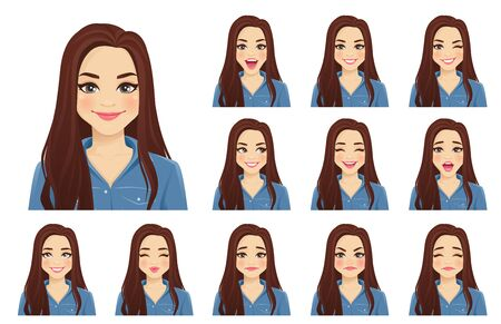 Vektor für Young beautiful woman with different facial expressions set isolated vector illustration - Lizenzfreies Bild