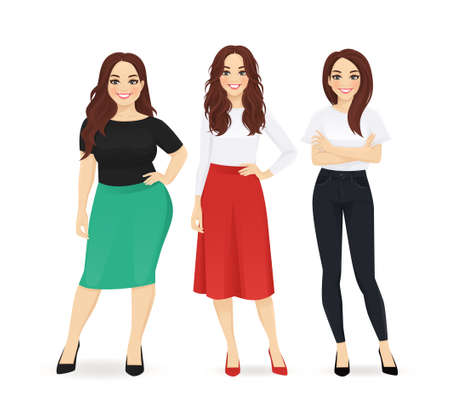 Illustration pour Three elegant casual business women standing isolated vector illustration - image libre de droit