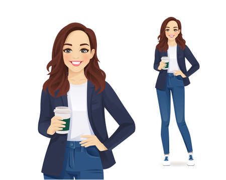 Illustration for Casual young business woman with coffee cup in jeans isolated vector illustration - Royalty Free Image