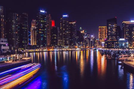 Photo for Dubai Marina district at night. Dubai at May 2019. - Royalty Free Image