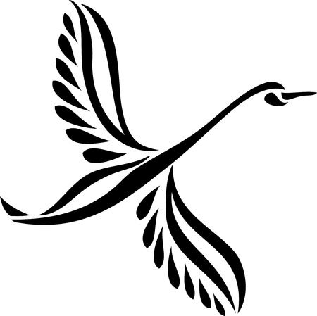 Silhouette of a flying swan