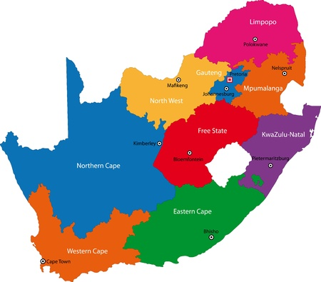 South Africa map designed in illustration with the provinces and the main citie