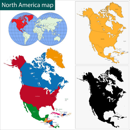 Colorful North America map with countries and capital cities ...