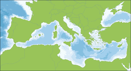 Vektor für The Mediterranean Sea is a sea connected to the Atlantic Ocean surrounded by the Mediterranean region and almost completely enclosed by land. - Lizenzfreies Bild