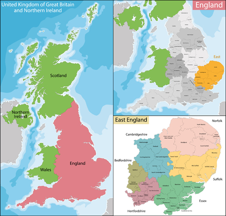 Illustration pour Map of the subdivisions of England with the East that is one of nine official regions - image libre de droit