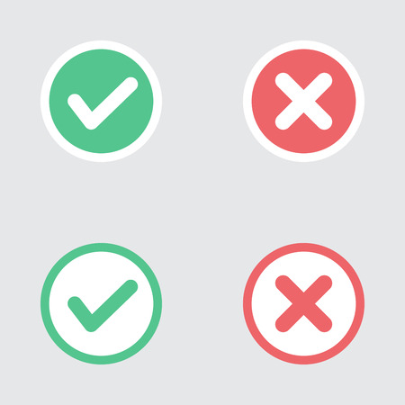 Vector Set of Flat Design Check Marks Icons. Different Variations of Ticks and Crosses Represents Confirmation, Right and Wrong Choices, Task Completion, Voting.