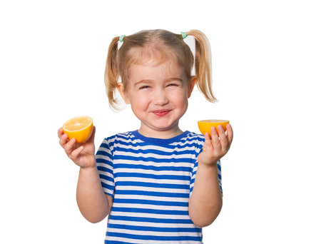 Photo pour Little Funny girl in striped shirt  keeps lemons. Isolated on white background - image libre de droit