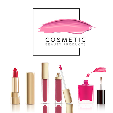 Illustration pour Beautiful cosmetic set in gold. lipstick, lip gloss and nail polish with smear. Makeup realistic cosmetic vector isolated on white. - image libre de droit