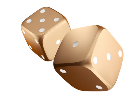 Poker dice. View of golden white dice. Casino gold dice on white background. Online casino dice gambling concept isolated on white.